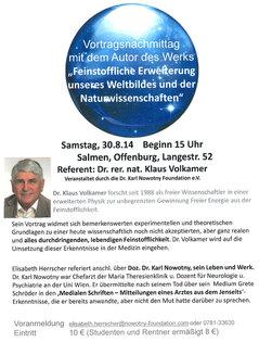 Nachmittag mit Dr. Klaus Volkamer - experimentelle und theoretischen Grundlagen der Feinstofflichkeit. - Vortrag Dr. Karl Nowotny